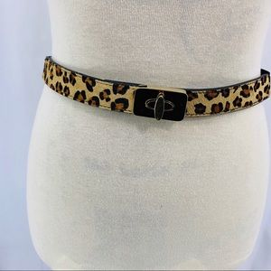 Express Leather Leopard Calf Hair Skinny Belt